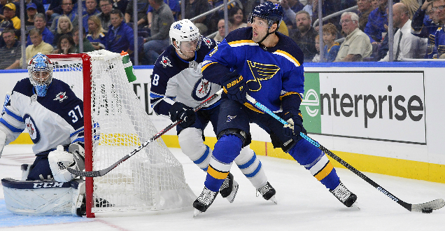 Blues barely avoid a shutout in season opener
