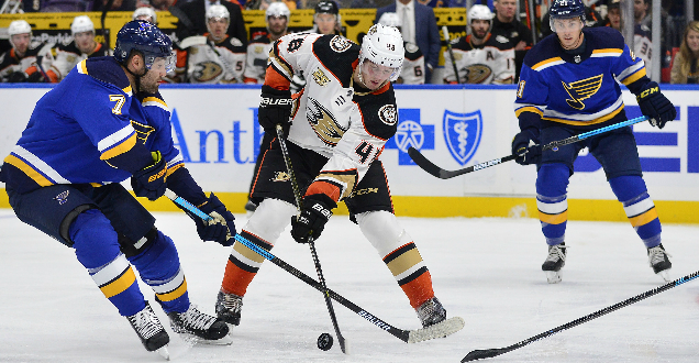 Blues can't hold third-Period lead, fall to Ducks